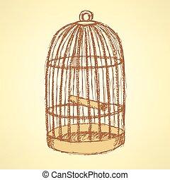 vendimia, bosquejo, jaula, estilo, pájaro