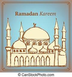 vendimia, bosquejo, mezquita, estilo, islámico