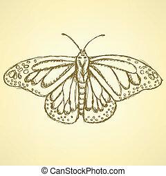 vendimia, bosquejo, vector, mariposa, plano de fondo