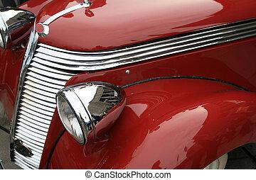 vendimia, brillante, rojo, coche., clásico, lujo, limousine., historia, de, automobile.