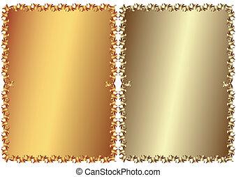 vendimia, bronce, y, plateado, marcos, (vector)