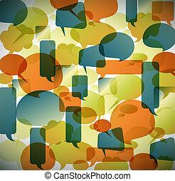 vendimia, burbujas, vector, discurso, plano de fondo