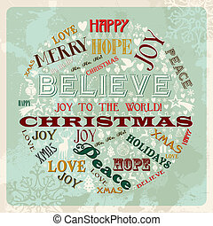 vendimia, círculo, concepto, navidad, alegre