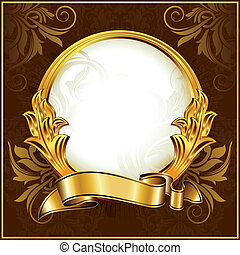 vendimia, círculo, marco, oro