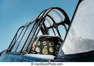 vendimia, cabina piloto avión