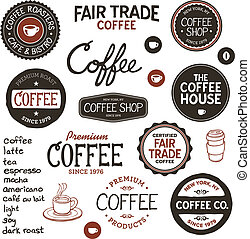 vendimia, café, etiquetas, letras