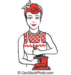 vendimia, café, mujer, 1950s, molienda