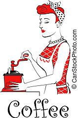 vendimia, café, mujer, retro, molienda