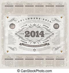 vendimia, calendario, florido, 2014