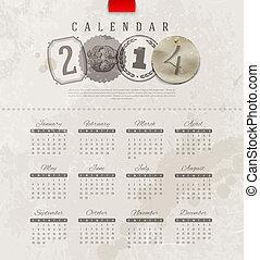 vendimia, calendario, grunge, 2014