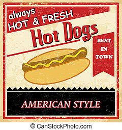 vendimia, caliente, grunge, perro, cartel