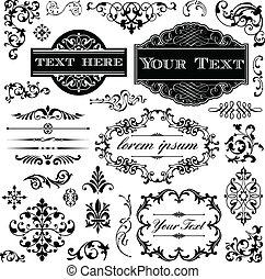 vendimia, caligrafía, conjunto, ornamento