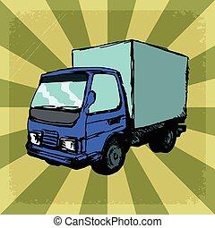 vendimia, camión, plano de fondo