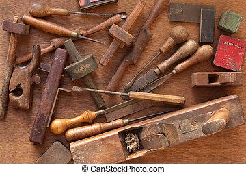 vendimia, carpintería, herramientas