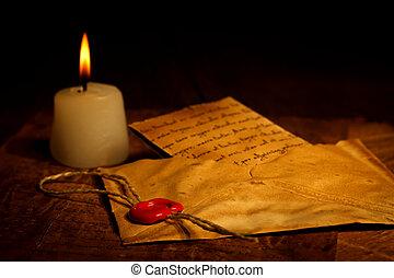 vendimia, carta, en, sobre, con, sello de lacrar