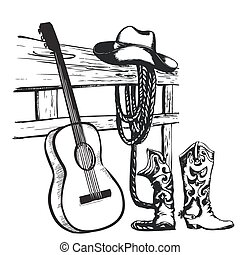 vendimia, cartel, con, vaquero, ropa, y, música, guitarra