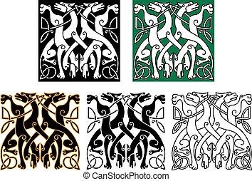 vendimia, celta, ornamento, lobos