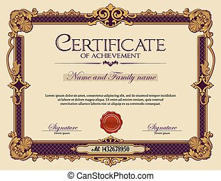 vendimia, certificado, de, achievement.