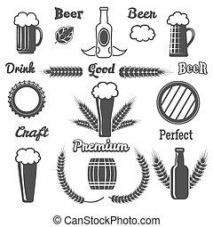 vendimia, cerveza, arte, diseñe elementos