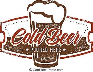vendimia, cerveza fría, señal