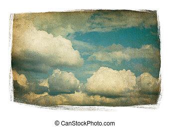 vendimia, cielo, con, velloso, nubes, aislado, en, pintado,...