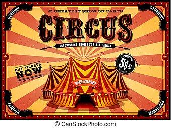 vendimia, cima, circo, cartel, amarillo, grande
