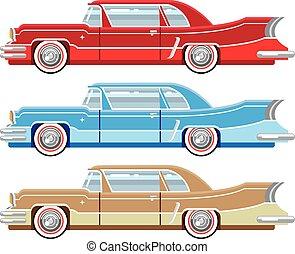 vendimia, clásico, automóvil, vector