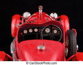 vendimia, coche rojo, en, fondo negro