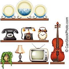 vendimia, colección, con, entretenimiento, dispositivos