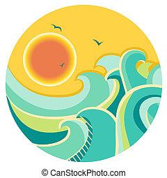 vendimia, color, vista marina, con, sol, en, redondo,...