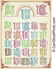 vendimia, colorfull, alfabeto