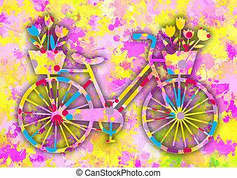 vendimia, colorido, bicicleta, con, flowers.