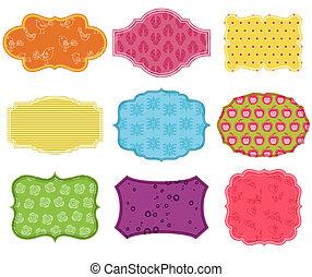 vendimia, colorido, diseñe elementos, para, álbum de recortes, -, etiquetas, y, marcos, en, vector
