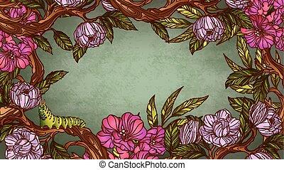 vendimia, colorido, floral, marco, con, oruga