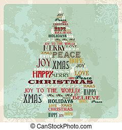 vendimia, concepto, árbol, navidad, alegre
