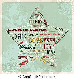 vendimia, concepto, estrella, navidad, alegre