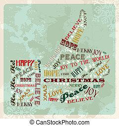 vendimia, concepto, navidad, alegre, mano
