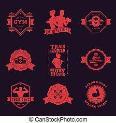 vendimia, condición física, emblemas, gimnasio, logotipos
