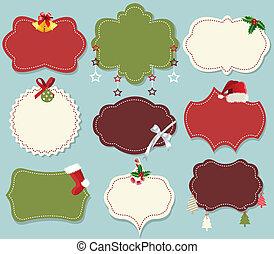 vendimia, conjunto, bandera, navidad, etiqueta