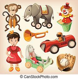 vendimia, conjunto, colorido, juguetes