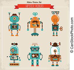 vendimia, conjunto, hipster, robot, iconos
