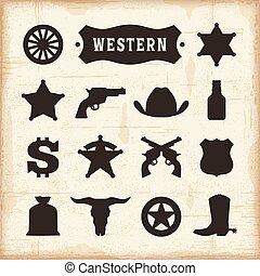 vendimia, conjunto, occidental, iconos