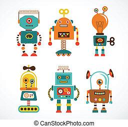 vendimia, conjunto, robot, iconos