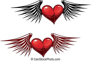 vendimia, corazón, con, alas