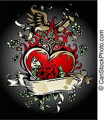 vendimia, corazón, con, flores, y, cruz