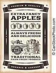 vendimia, cosecha, manzana, cartel