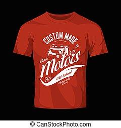 vendimia, costumbre, barra caliente, motores, vector, logotipo, concepto, aislado, en, camiseta roja, simulado, arriba.