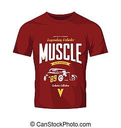 vendimia, costumbre, barra caliente, vector, logotipo, aislado, en, camiseta roja, simulado, arriba.