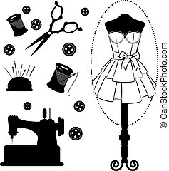 vendimia, costura, relacionado, elementos