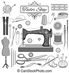 vendimia, costura, y, sastre, objeto